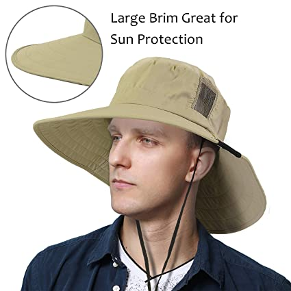 184049cccae87 Tirrinia Unisex Outdoor Safari Sun Hat Wide Brim Boonie Cap with Adjustable  Drawstring for Camping Hiking