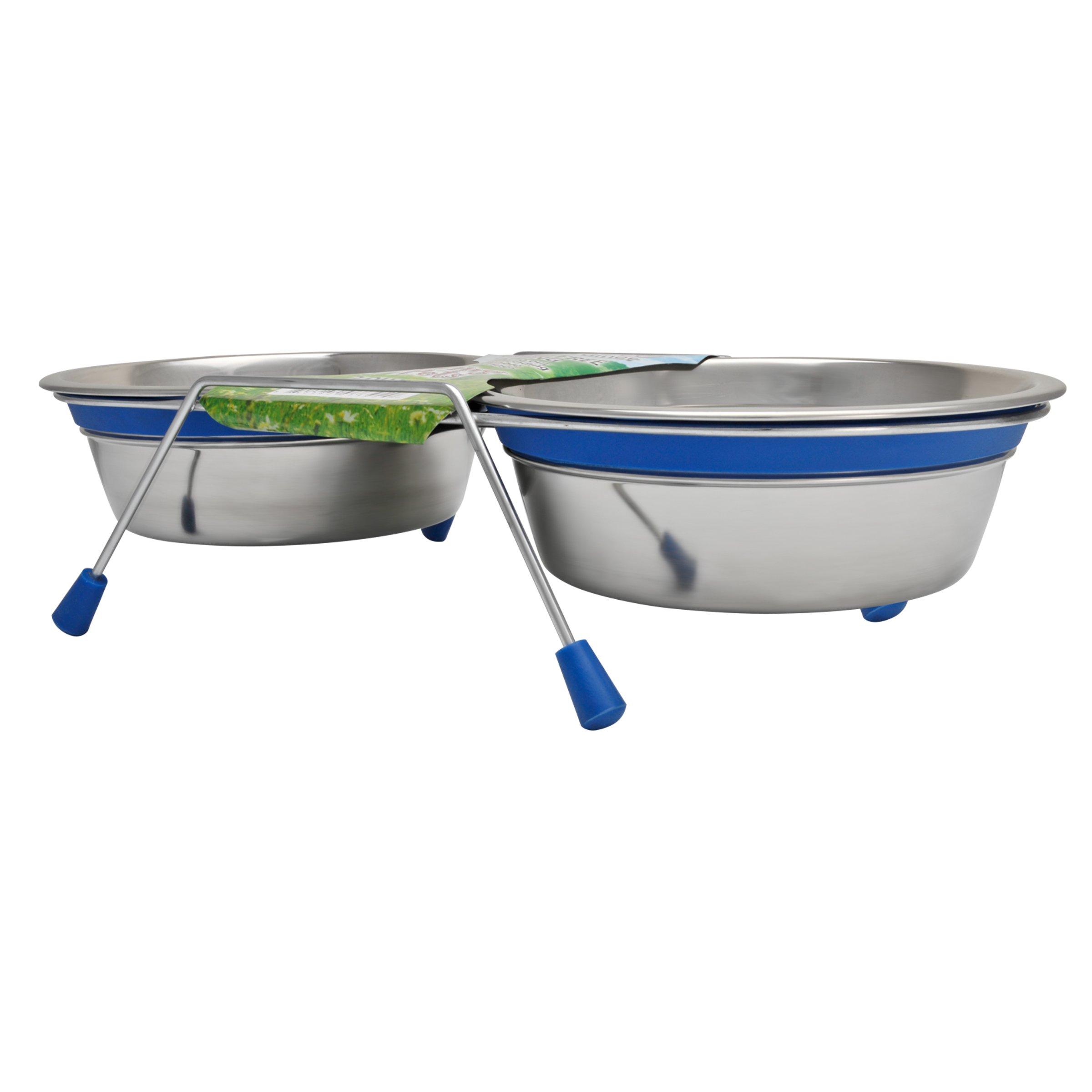 Loving Pets Silent Double Dinner Pet Bowl, 1-Pint, Blue