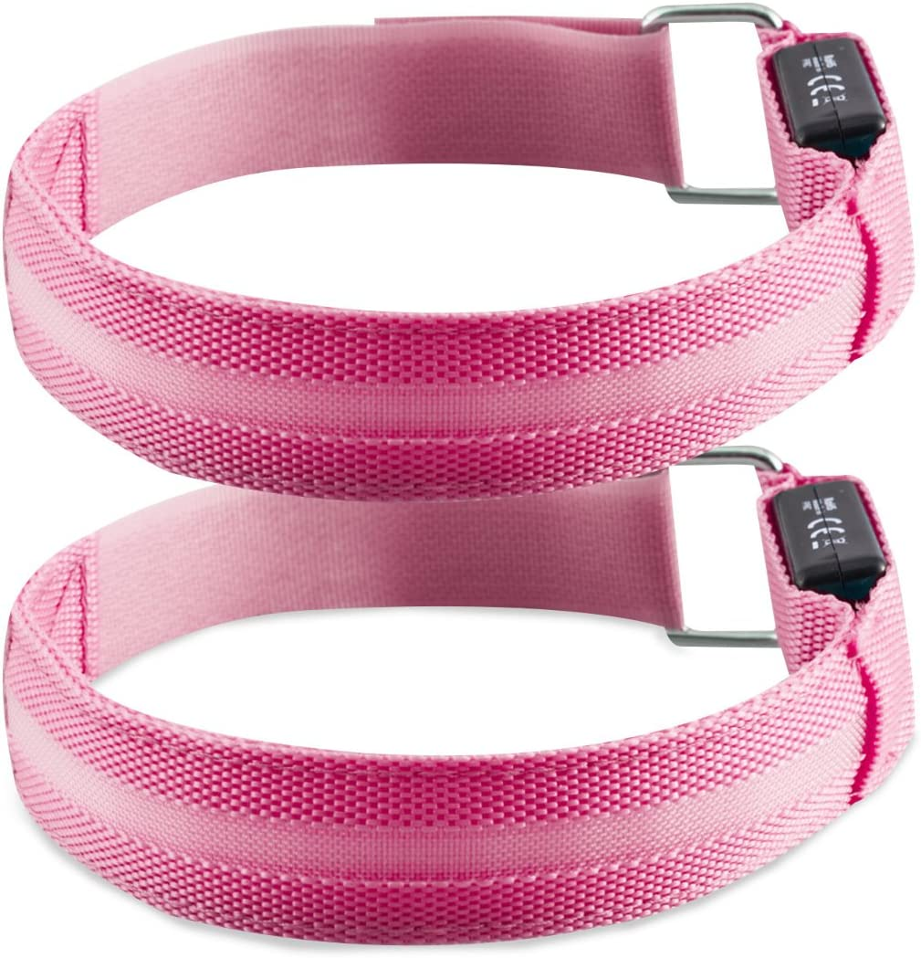 kwmobile 2X LED Light Armband - Outdoor Sports Bands for Jogging Cycling Walking - Glow in The Dark Safety Bracelet for Arm, Leg, Ankle