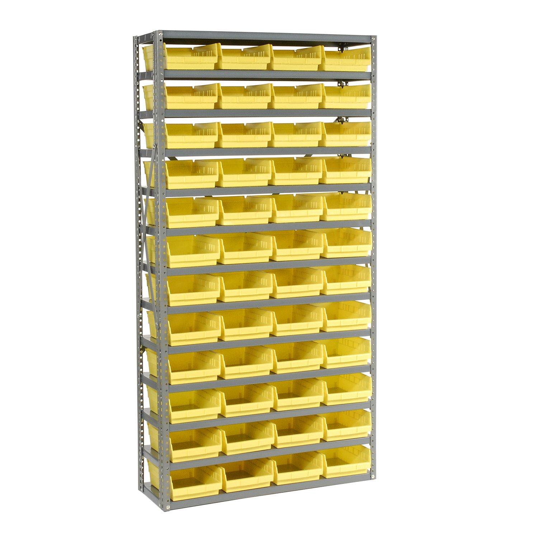 13 Shelf Steel Shelving with (48) 4''H Plastic Shelf Bins, Yellow, 36x12x72