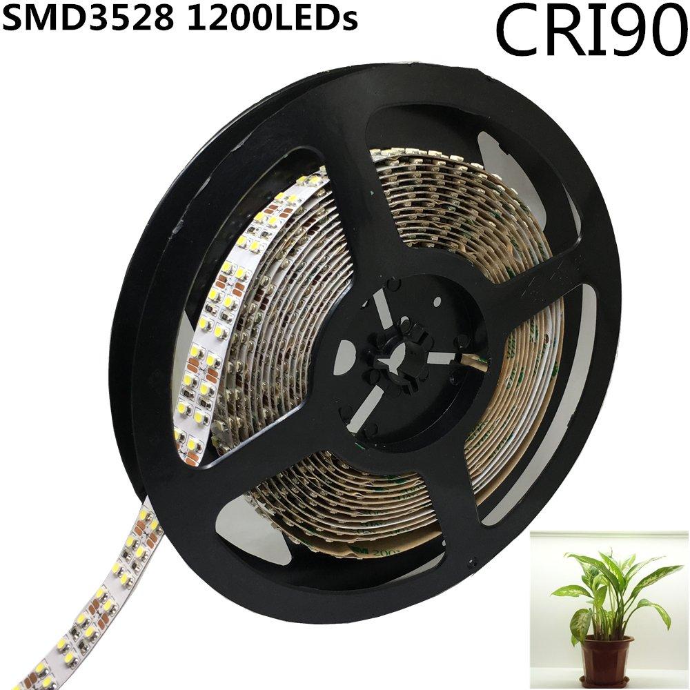 LightingWill LED Strip Light CRI90 SMD3528 16.4Ft(5M) 1200LEDs Daylight White 5000K-6000K 240LED/M DC12V 96W 19.2W/M 15mm White PCB Flexible Ribbon Strip with Adhesive Tape Non-Waterproof H3528PW1200N