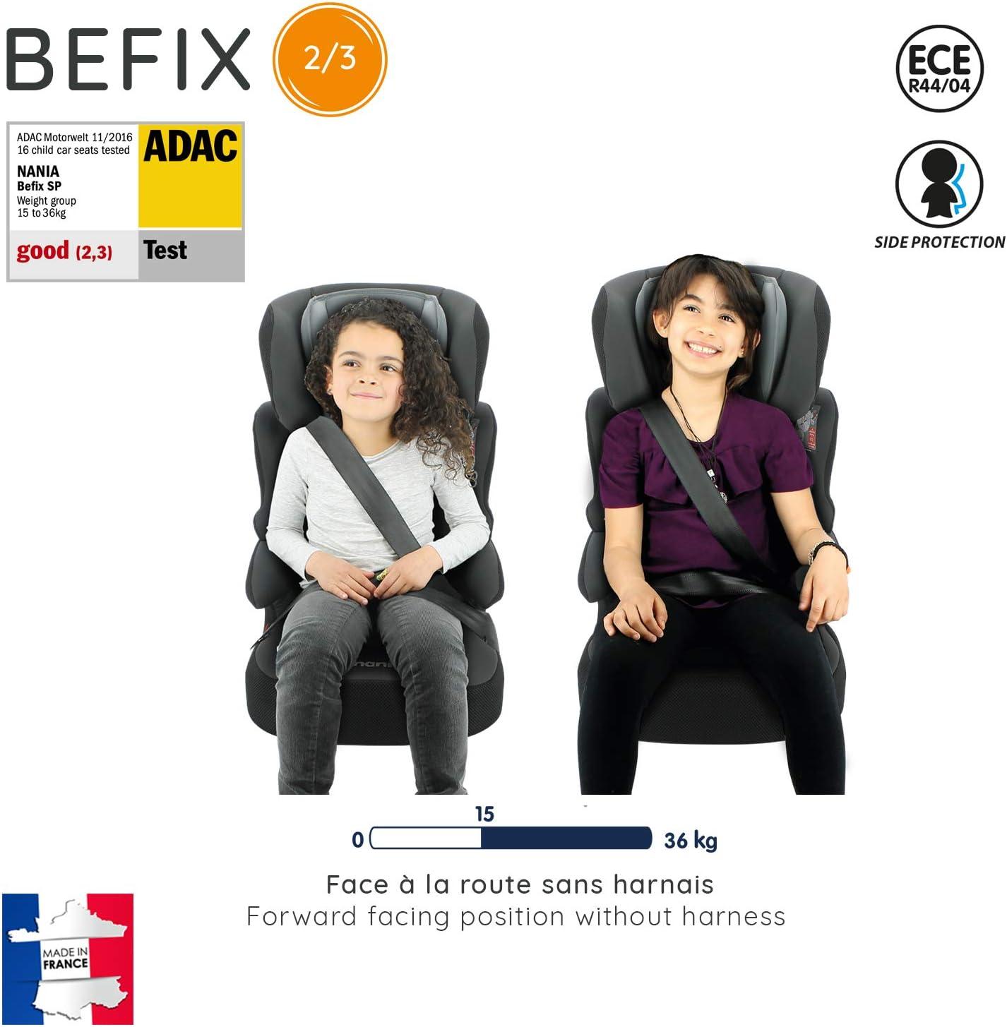 15-36kg - 4 /étoiles ADAC Linea Nania gris fabrication fran/çaise Rehausseur enfant BEFIX groupe 2//3