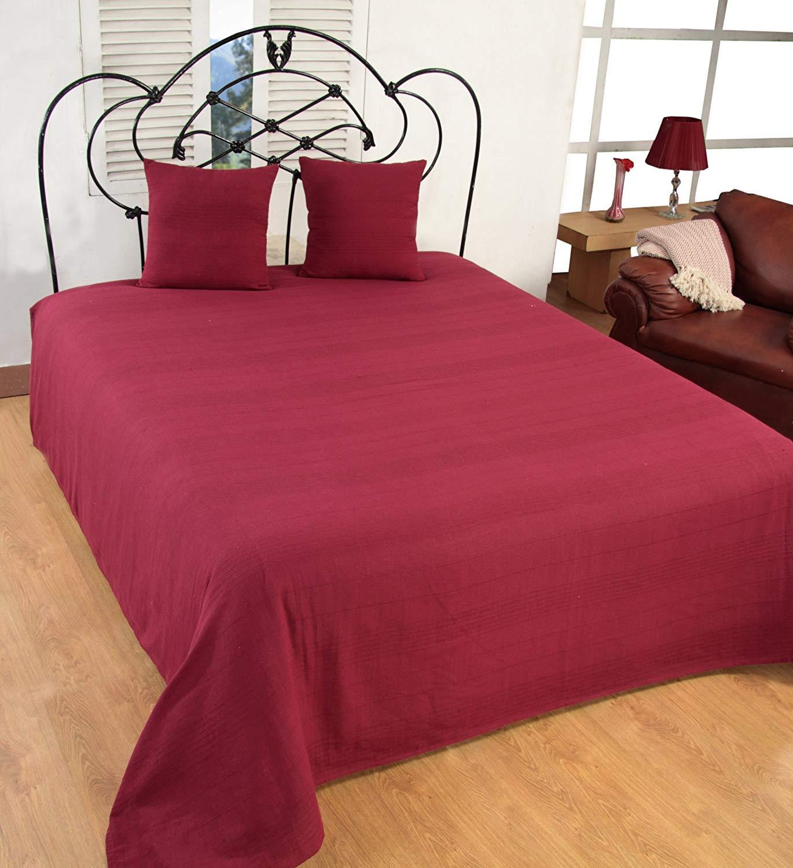 EliteHomeCollection Jet/é de canap/é//couvre-lit en coton c/ôtel/é avec 2 housses de coussin Bordeaux 250/x/250 cm