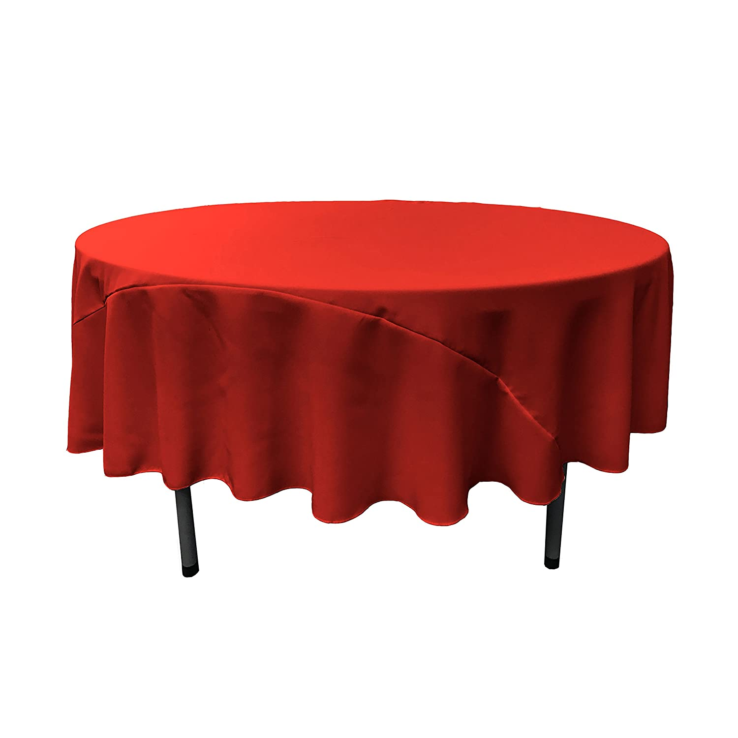 Amazon.com: LA Linen 96 Inch Round Polyester Poplin Tablecloth / Pack Of 1  / Red.: Kitchen U0026 Dining