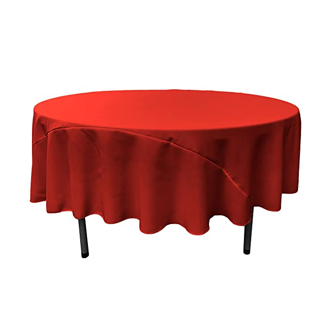 LA Linen 90-Inch Round Polyester Poplin Tablecloth, Red