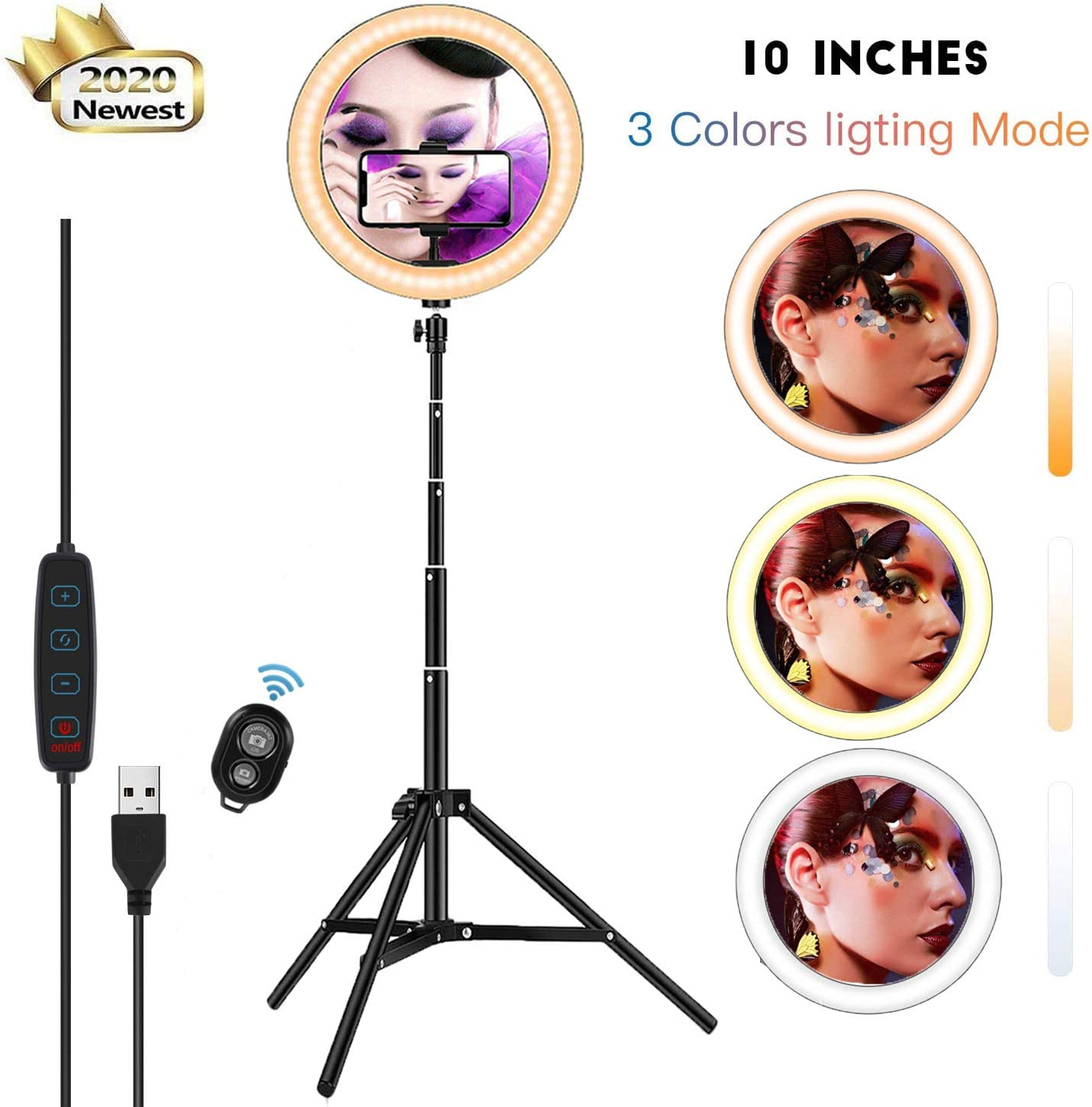 "10.2"" Selfie Ring Light with 57.1"" Extendable Tripod Stand & Flexible Phone Holder for YouTube Makeup Video, Mini Desktop Led Camera Ringlight with 3 Color Setting 3000K-6000K"