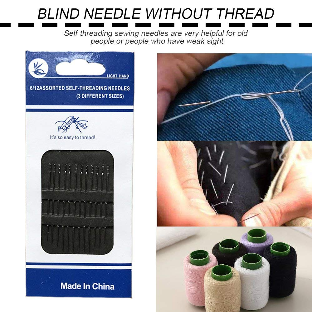 12Pcs Set Aguja de auto-enhebrado de la herramienta de costura dom/éstica para personas ciegas y de edad avanzada Agujas de coser de ojo grande Agujas de coser a mano Astilla