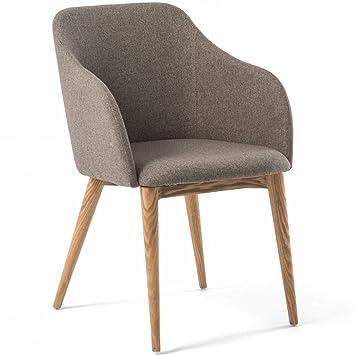 Chaise Avec Accoudoir Design Scandinave VARM Gris