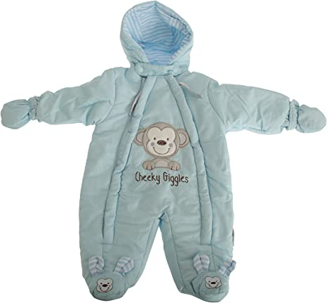 Nursery Time Baby Boys Snowsuit with Mittens White Infant