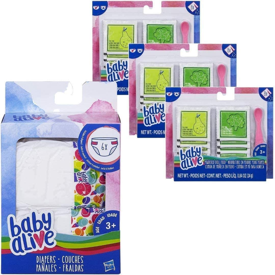 Baby Alive Diaper w/Powdered Doll Food 4pc Bundle Feeding Changing Activity Play