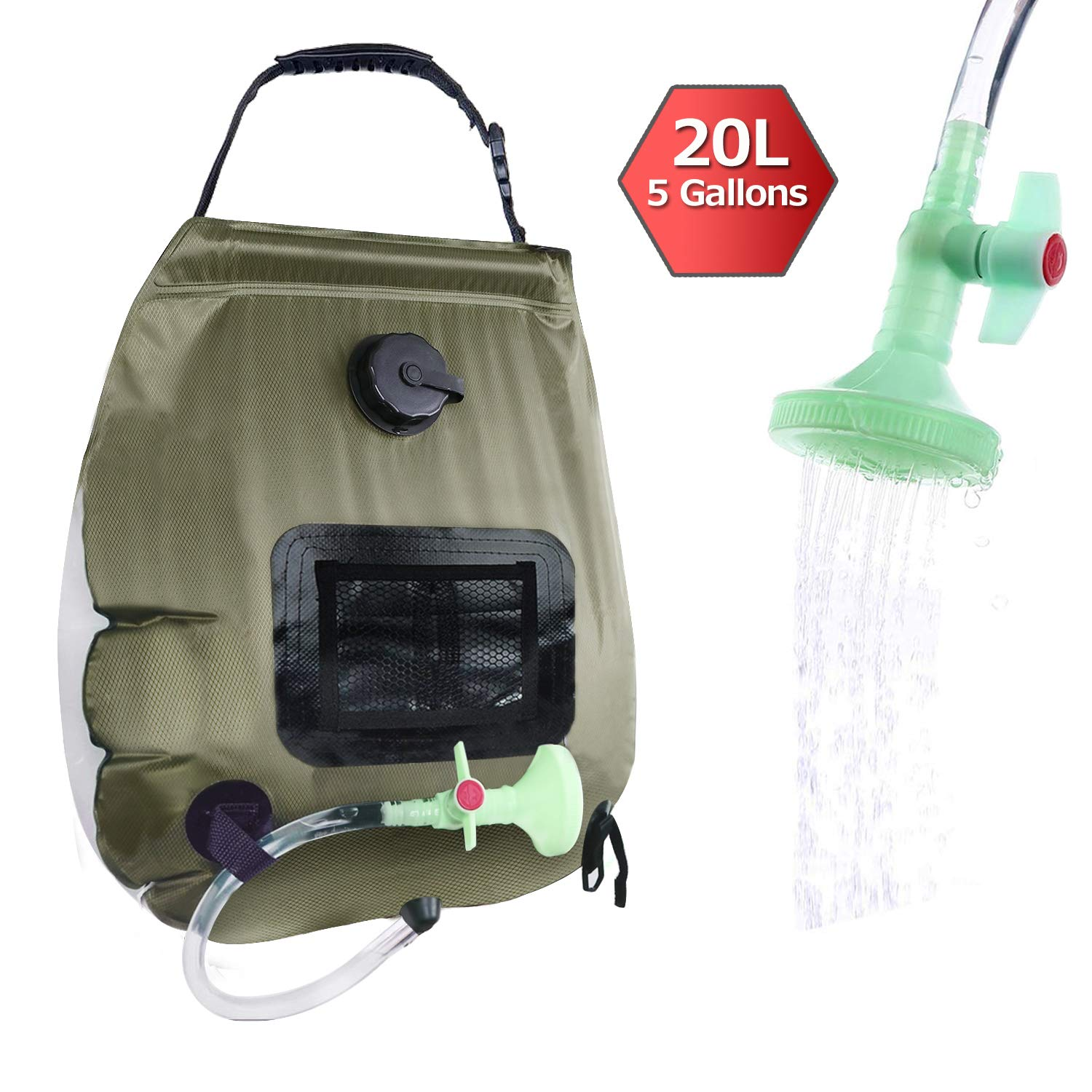 Prepare Camp Solar Shower Bag with Pressure Foot Pump /& Shower Nozzle Dr