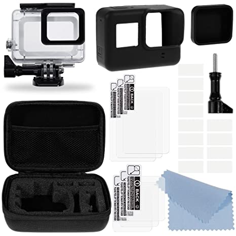 Zacro Accesorios Kit para GoPro Hero 5/ 6: 6xProtectora lentes+Carcasa Impermeable+Cubre lente Silicona+Montura Protectora Slicona+Estuche ...