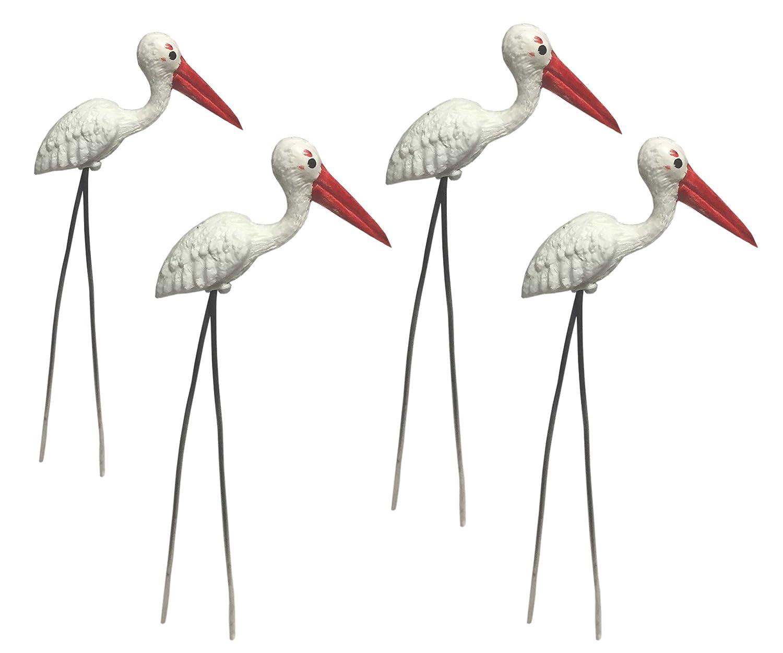 20 pcs. Terrarium Mini White Egret Flamingo Stake Miniature Dollhouse Fairy Garden Accessorie