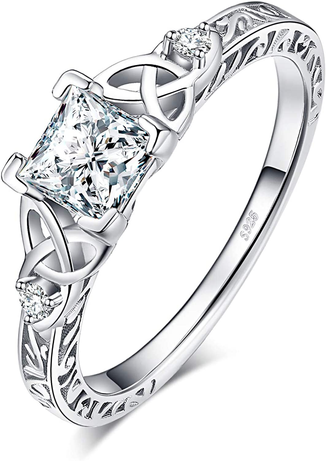 Girls Womens Jewellery Gifts Infinity Anniversary Simulated Diamond Ring Set Wedding Eternity Engagement Rings for her JewelryPalace White Gold Plated 925 Sterling Silver Promise Rings for Women