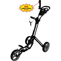 Qwik-Fold 3 Wheel Push Pull Golf Cart Buggy - Foot Brake - One Second to Open & Close!