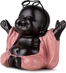 Buddha Statue Decoration Buddah, Laughing Buddah Statute Home Decor, Happiness Smile Buda Sculpture, Little Cute Small Baby Monk Figurine Ornaments Gift, Maitreya Smile Budda for Office, Study