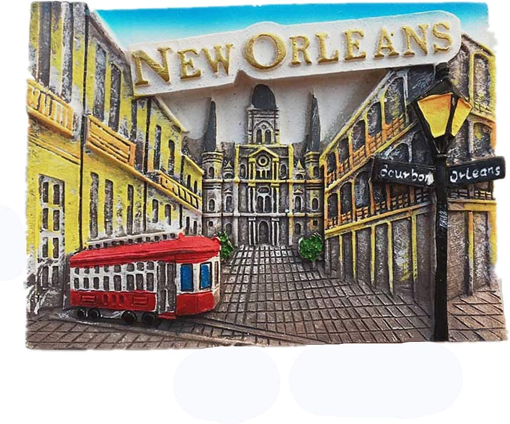 New Orleans Louisiana USA Fridge Magnet Tourist Souvenir Gift Collection, Home Kitchen Decoration Magnetic Sticker New Orleans America Refrigerator Magnet