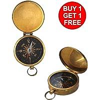 "Hampton Nautical Lewis and Clark Solid Brass Pocket Compass, 3"", Brass"