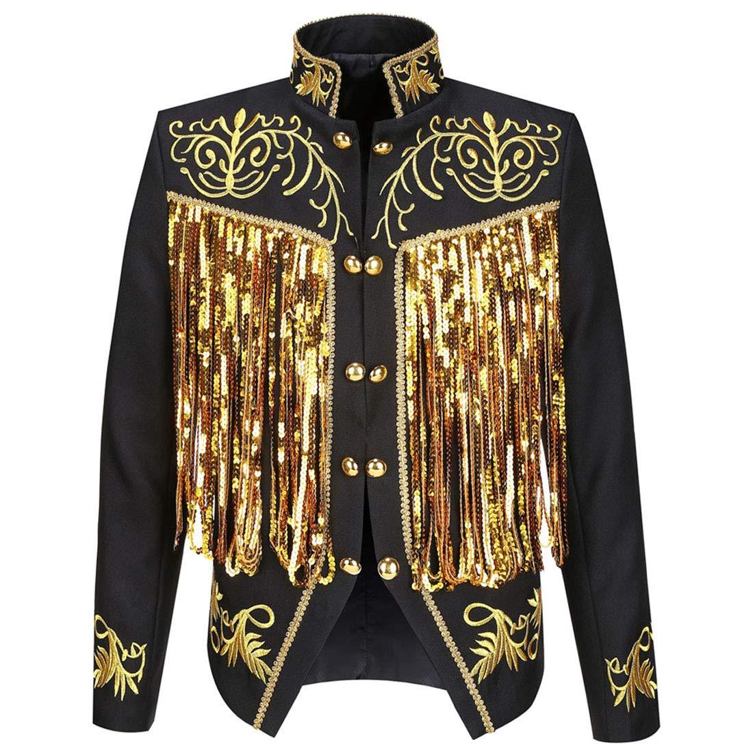 PYJTRL Mens Fashion Gold Embroidery Tassels Sequins Suit Jacket (Black, Tag L/US 36R) by PYJTRL