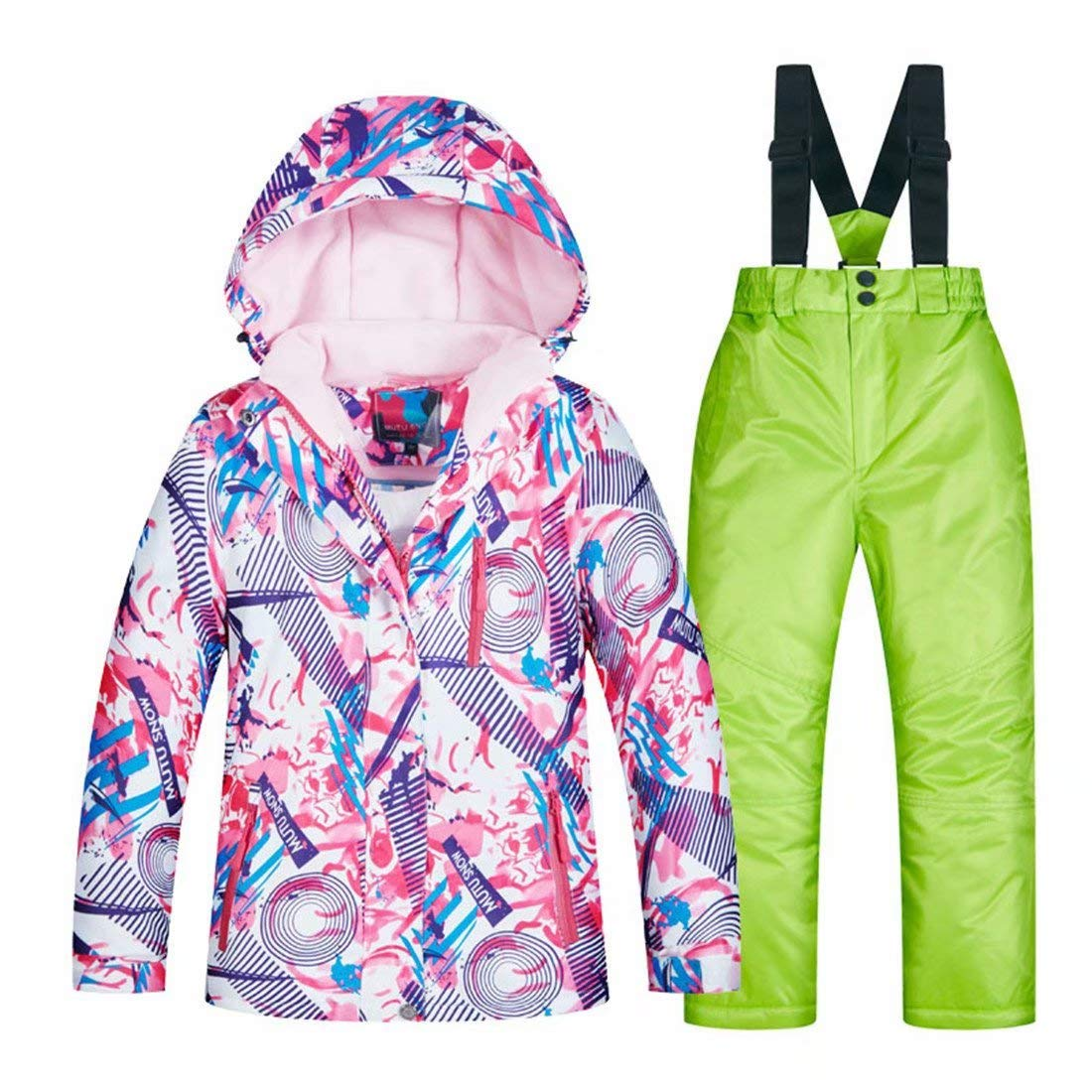 OLEK Girls Waterproof Ski Snowboarding Jackets and Pants Set Insulated Snowboard Snowsuit