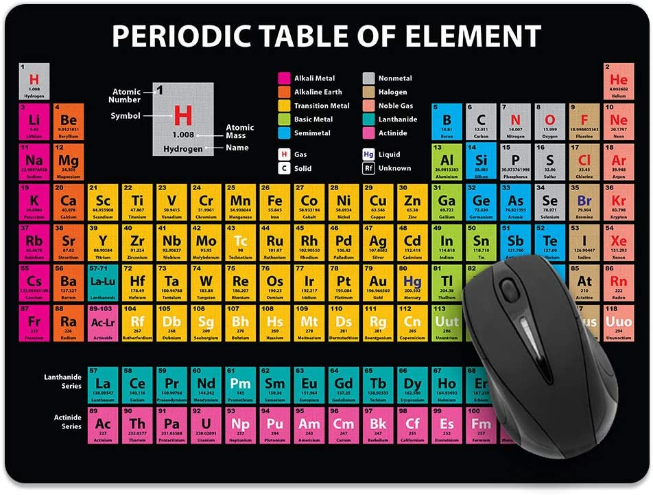 Extra Large (X-Large) Size Non-Slip Rectangle Mousepad, WIRESTER Periodic Table of Elements Black Mouse Pad for Home, Office and Gaming Desk