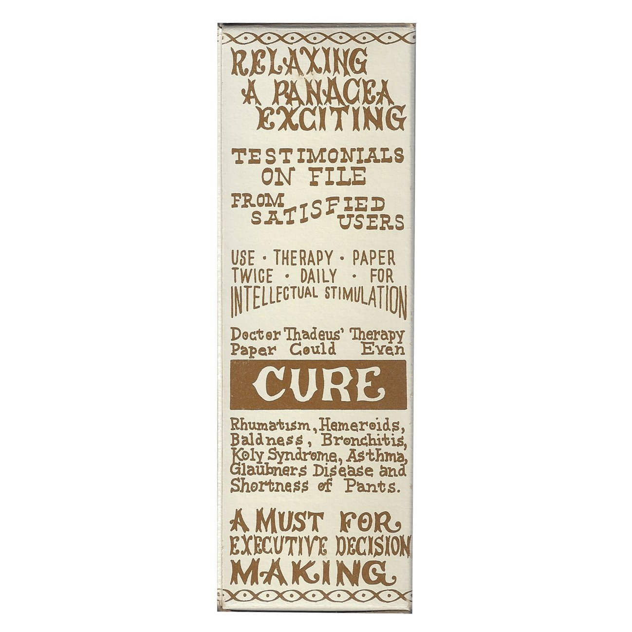 Thadeus Therapy Paper Bellows Bazaar Funny Stocking Stuffer Dr