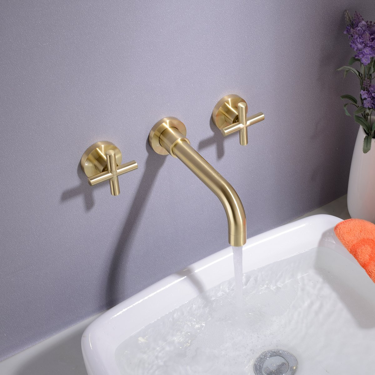 Brushed Gold TRUSTMI Bathroom Faucet Brushed Gold or Matte Black Double Handle Wall Mounted Bathroom Sink Faucet and Rough in Valve Included