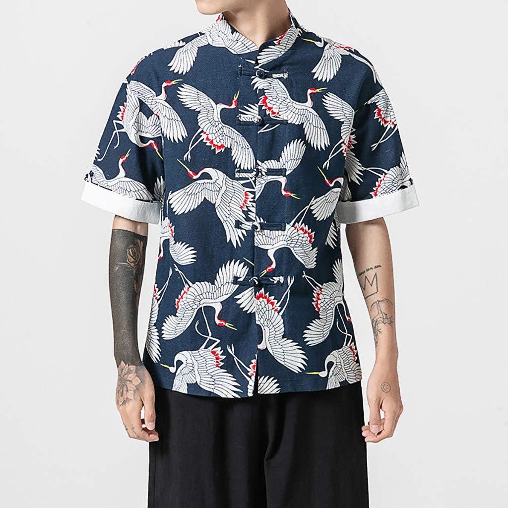 ARTFFEL Mens Stylish Dashiki African Print Short Sleeve Hip-hop T-Shirts Tee