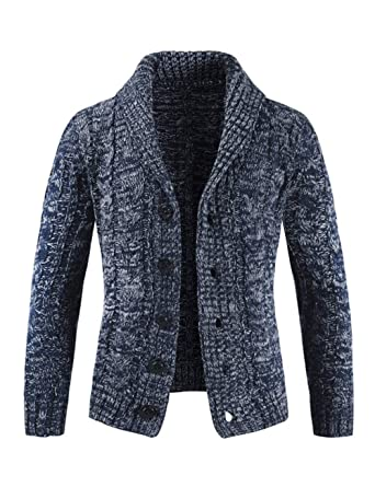 45eeb921dae40 TAAMBAB Chaqueta Punto Sudadera suéter para Hombre con Botones - Jersey de  Hombre Slim fit con