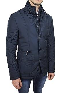 Giubbotto Piumino Uomo Sartoriale Blu Casual Elegante Giacca Invernale Slim  Fit a54c984c450