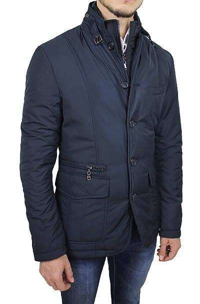 cheaper cfbba a3c61 Giubbotto Piumino Uomo Sartoriale Blu Casual Elegante Giacca Invernale Slim  Fit