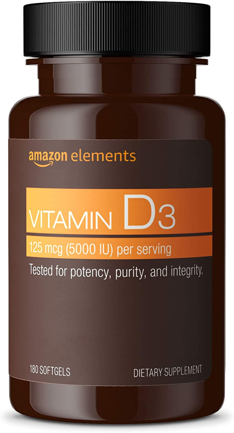 Elements Vitamin D3, 5000 IU, 180 Softgels, 6 month supply (Packaging may vary), Supports Strong Bones and Immune Health: Health & Personal Care