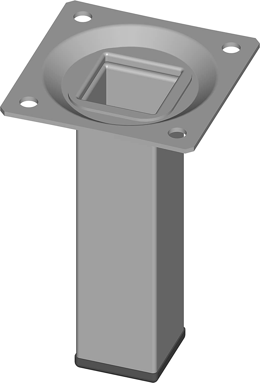 Element System 18133-00288 Pie para muebles, Aluminio Blanco, 10 cm, Set de 4 Piezas
