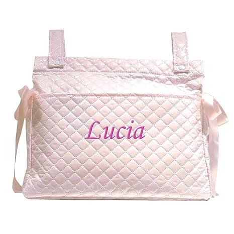 c37ca4296 Mi Pipo - Bolso panera personalizado bebé rosa, color de bordado: fucsia