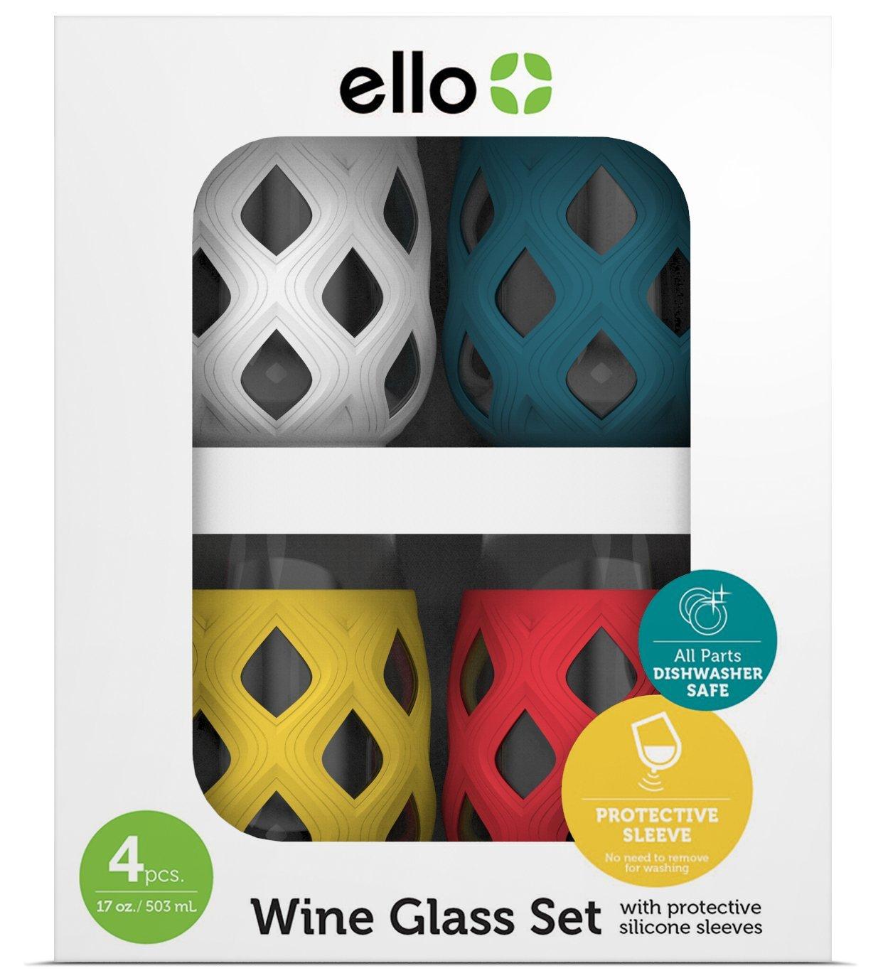 Ello Cru 17 Oz Stemless Wine Glass Set with Silicone Sleeves, Mai Tai (4-Pack)