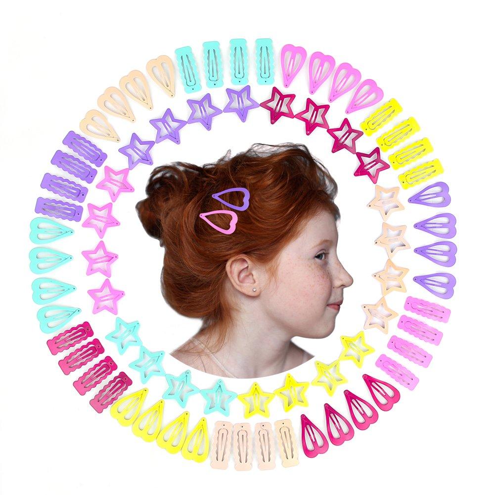 QtGirl Snap Star Hair Clips Metal Hair Barrettes for Little Girl, 72 Pcs Non Slip Mini Hair Clip for Toddler Girls Kids and Woman