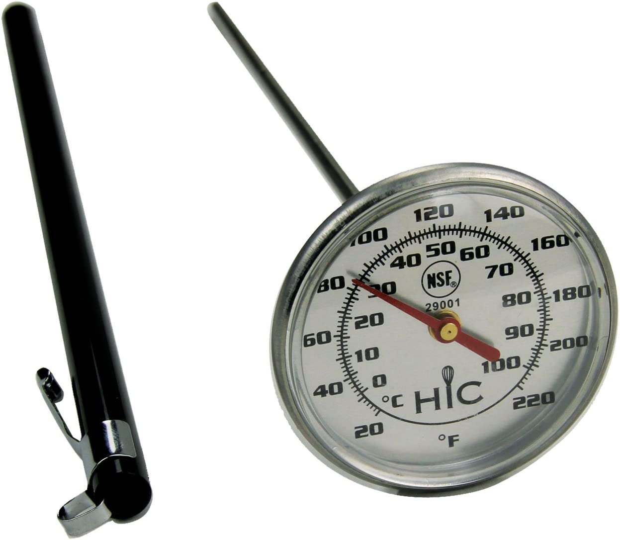 1 Stainless Steel and Protective Sheath with Internal Temperature Chart FBA/_29000 Instant-Read Meat Poultry Turkey Grill Thermometer Shatterproof Face HIC Harold Import Co