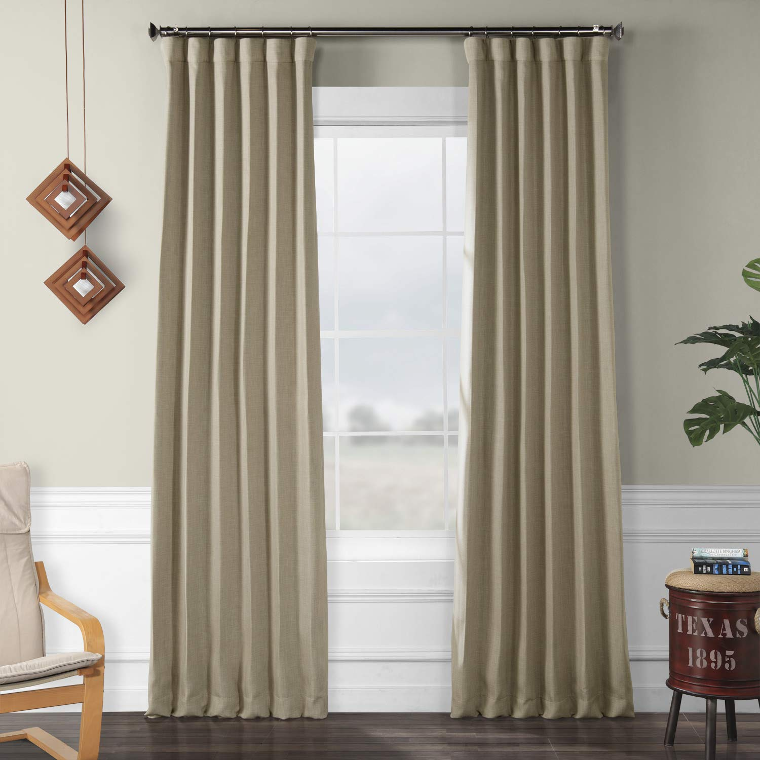 HPD HALF PRICE DRAPES BOCH-LN18542-96 Faux Linen Blackout Room Darkening Curtain 50 X 96,Thatched Tan by HPD Half Price Drapes
