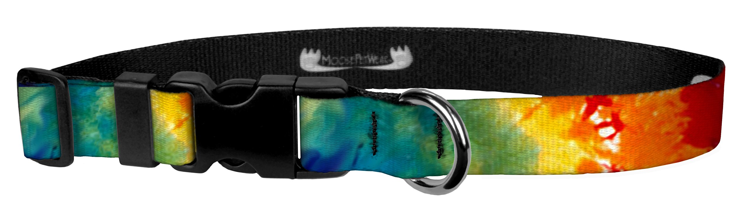 Moose Pet Wear Dog Collar - Patterned Adjustable Pet Collars, Made in the USA - 1 Inch Wide, Large, Tie-Dye