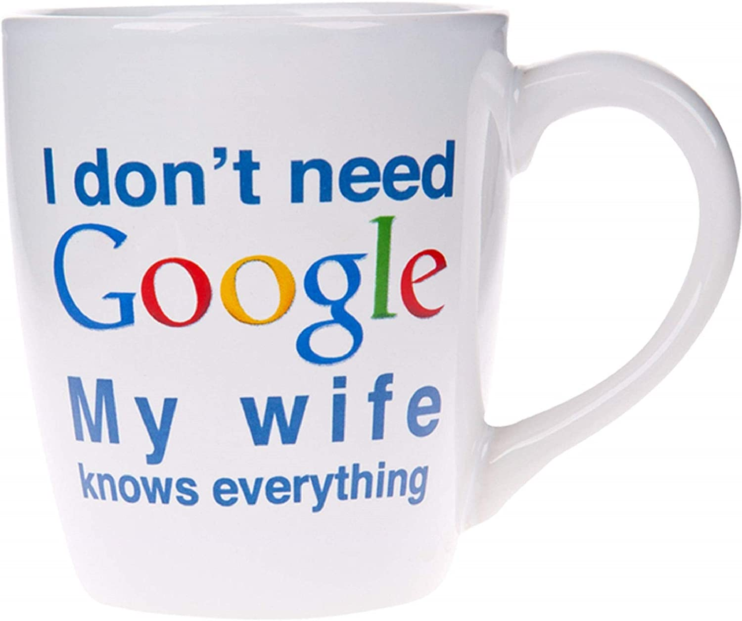 Home Essentials I Dont Need Google - My Wife Knows Everything: Jumbo 22 Oz. Stoneware Mug, White