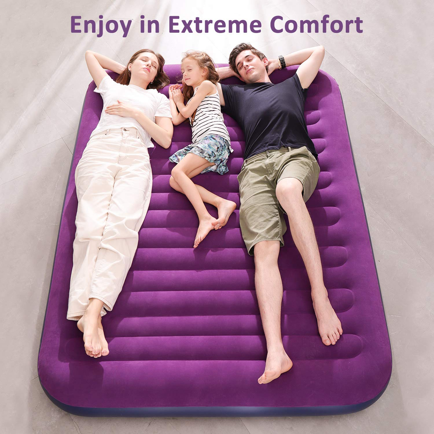 OlarHike Queen Air Mattress, Inflatable Single High Airbed for Guests, Blow up Raised Air Bed for Camping with Electric Air Battery Pump, Purple by OlarHike (Image #2)