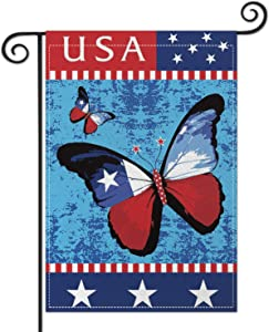 Hierceson Red Blue Garden Flag Butterflies US Stars Flag, Premium Burlap Outdoor Small Yard Lawn Flag, Durable Vertical Double Sided Perfect for Porch Patio Farmhouse Decorative, 12.5 x 18 Inch