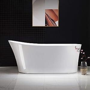 "Woodbridge B-0083/BTA-0083 B/N Acrylic Freestanding Bathtub Contemporary Soaking Tub with Brushed Nickel Overflow and Drain BTA0083-B,White, 59"" B-0083"