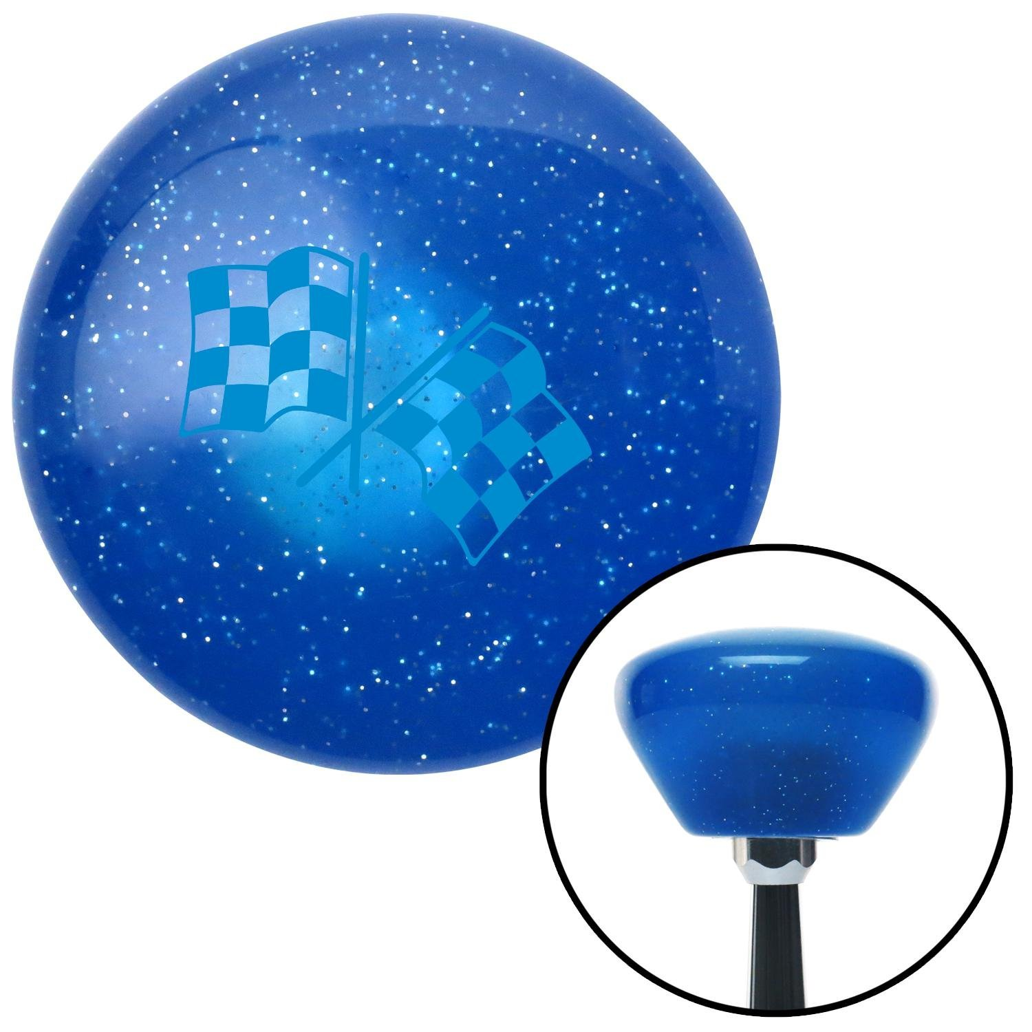 Blue 2 Checkered Race Flags American Shifter 188563 Blue Retro Metal Flake Shift Knob with M16 x 1.5 Insert