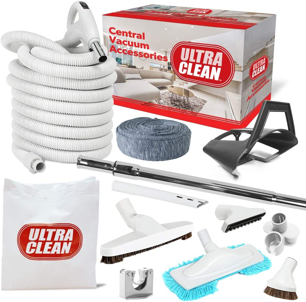 Ultra Clean Central Vacuum Best Hardwood Accessory Kit - Low Voltage 24 V Hose with on/Off Switch Swivel Handle - Deluxe Tool Set, Hose Cover, Dust Mop, Storage Tool Caddy (White, 35 ft)