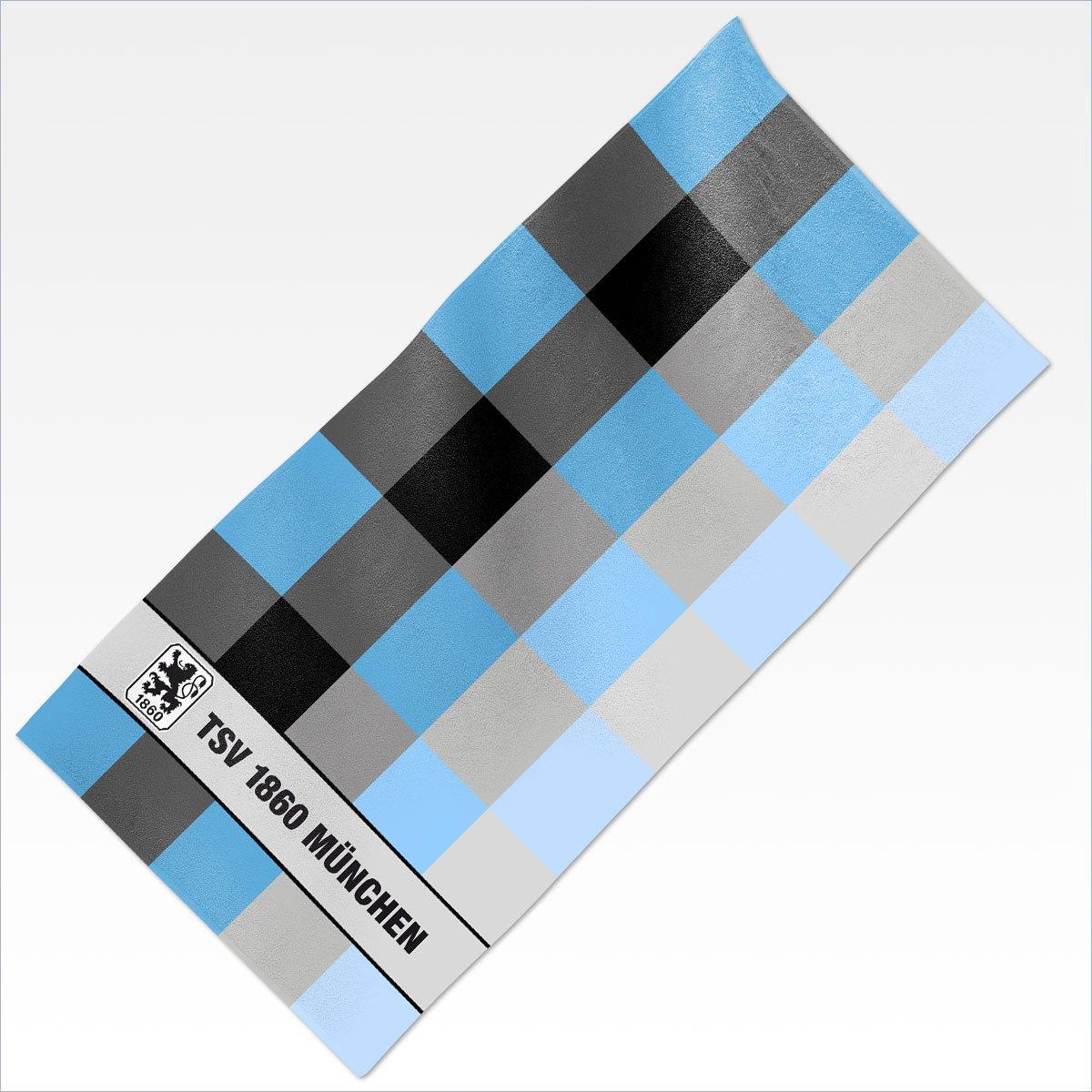 TSV 1860 M/ünchen Velourstuch Stripes blau 76x152 Strandlaken Decke