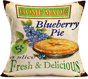 Asamour Vintage Leisure Time Throw Pillow Cover Afternoon Tea and French Dessert Coffee Bakery Cotton Linen Decorative Pillow Case Cushion Cover Coffee Shop Sofa Pillowcase 18''x18'' (Blueberry Pie)