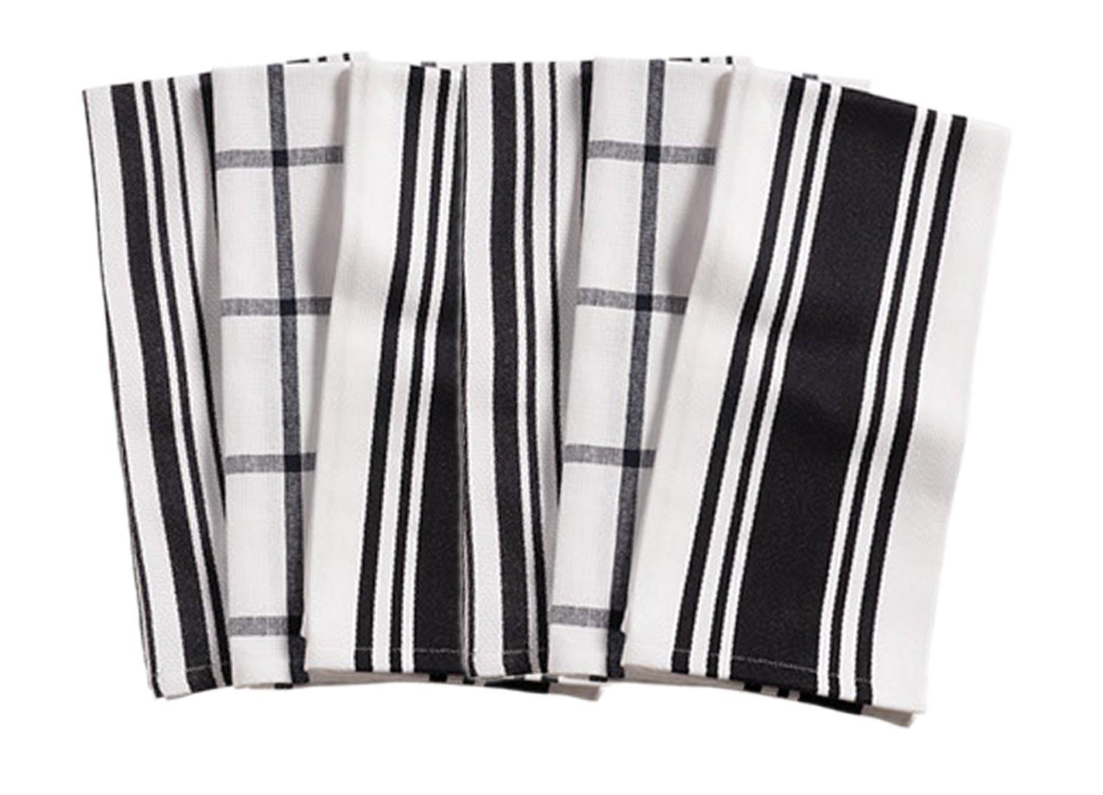 KAF Home Kitchen Towels,  Set of 6, Black & White, 100% Cotton, Machine Washable, Ultra Absorbent