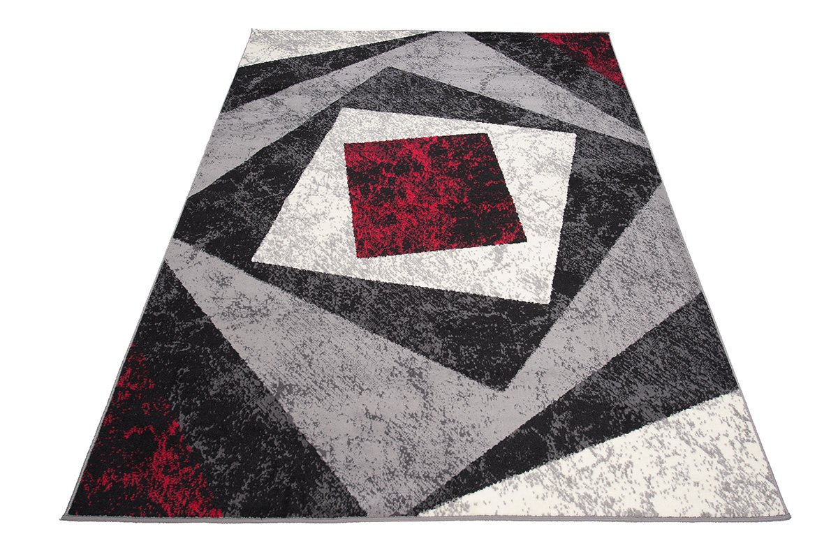 Designer Teppich mit Karo Kariert Meliert in Grau Rot Weiß - ÖKO Tex (200 x 300 cm)