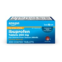 Amazon Basic Care Ibuprofen Tablets 200 mg, Pain Reliever/Fever Reducer (NSAID),...